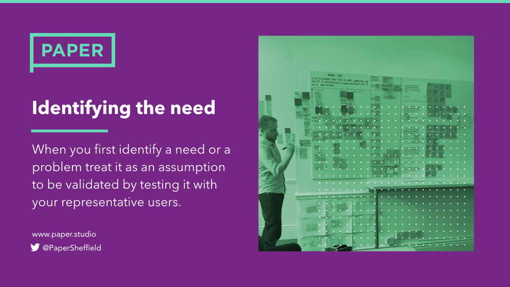 when you first identify a need or a problem to treat it as an assumption which is to be validated by testing it with your representative users.